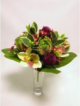BUSH ROSE/CYMBIDIUM X 13 CM 32
