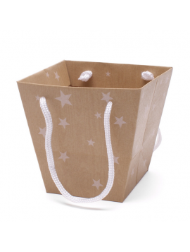 BAG DREAM STARS  15/13X11/10X14CM  NATURAL  PACCO DA 10 PEZZI